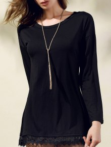 Lacework Splicing Round Collar 3/4 Sleeve Black Dress