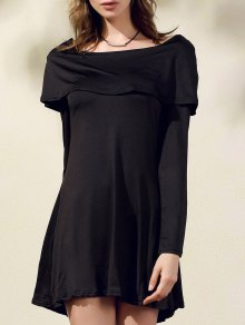 Black Off The Shoulder Boat Neck Long Sleeve Dress