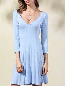 Double-V 3/4 Sleeve Flared Dress