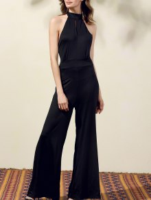 Black Halter Wide Leg Jumpsuit - Black