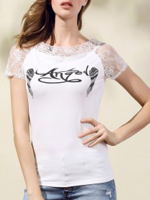 Printed Lace Spliced Round Neck Short Sleeve T-Shirt