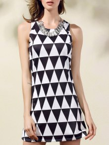 Geometric Pattern Round Collar Sleeveless Dress - White And Black L