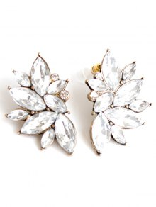 Rhinestone Stud Earrings - White