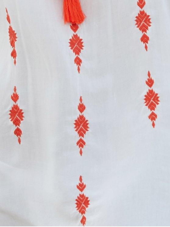 Embroidered White Irregular Dress - WHITE S Mobile