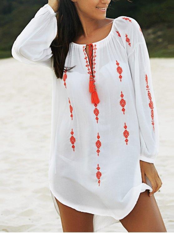 Bordado vestido irregular blanca - Blanco S