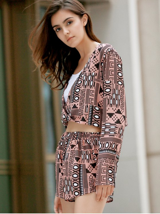 Long Sleeve Front Twist Top + Printed Shorts Twinset - COLORMIX L Mobile