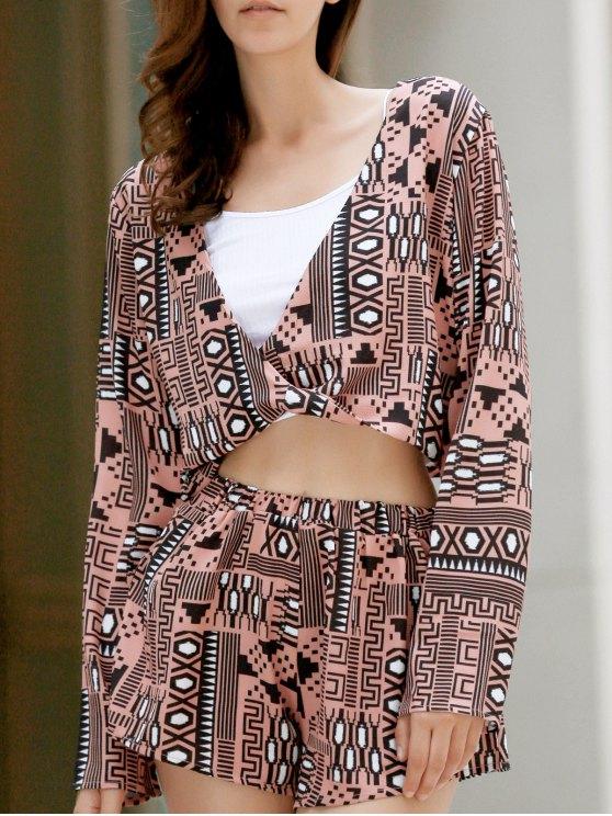 Manches avant long Twist Top + Printed Shorts Twinset - Multicolore L