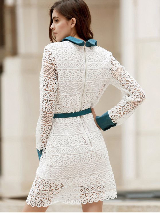 Bowtie Shirt Collar Long Sleeve Lace Dress - WHITE L Mobile
