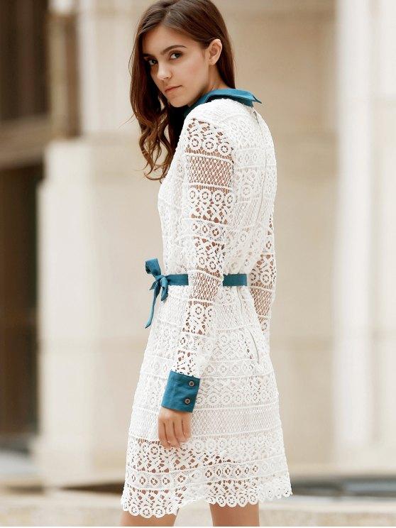 Bowtie Shirt Collar Long Sleeve Lace Dress - WHITE L Mobile