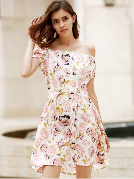 Floral Off The Shoulder Short Sleeve Dress - COLORMIX M Mobile