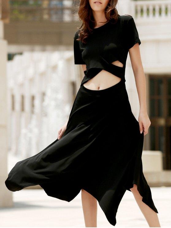 best Black Irregular Hem Round Neck Short Sleeve Dress - BLACK S