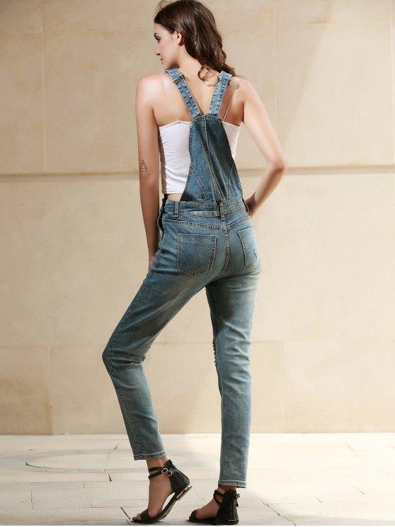 Bleach Wash Pocket Denim Overalls - DEEP BLUE M Mobile