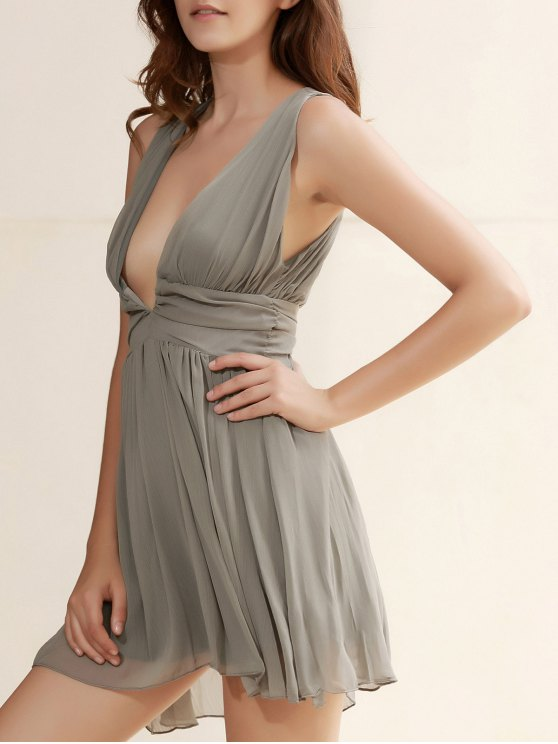 fancy Plunging Neck Backless Ruffle Dress - GREEN M
