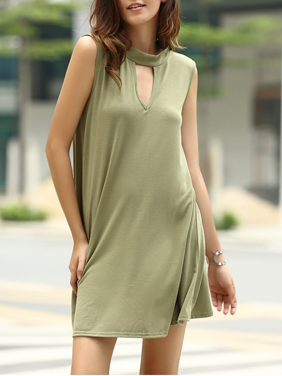 Stylish Keyhole Neckline Sleeveless Solid Color Dress For Women - ARMY GREEN L Mobile