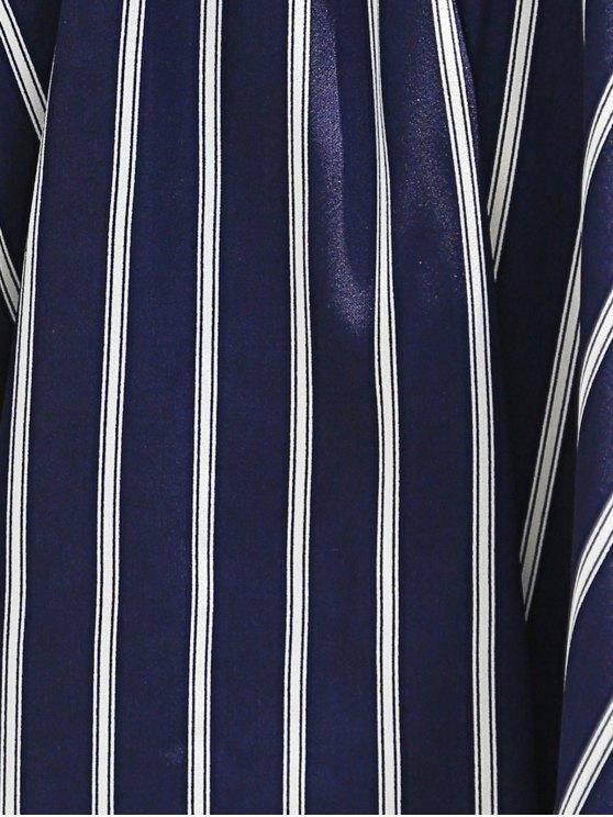 Sweet Off-The-Shoulder Striped T-Shirt For Women - PURPLISH BLUE M Mobile