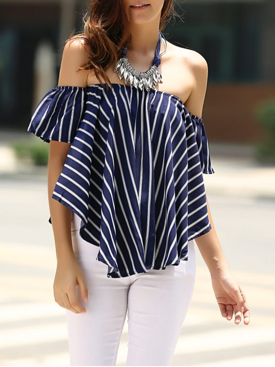 latest Sweet Off-The-Shoulder Striped T-Shirt For Women - PURPLISH BLUE S