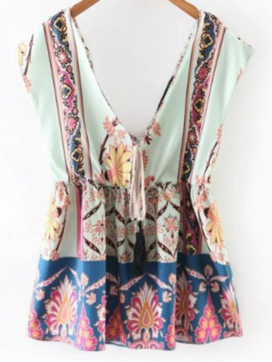 ladies Printed Waisted Corset Plunging Neck Tank Top - LIGHT BLUE M
