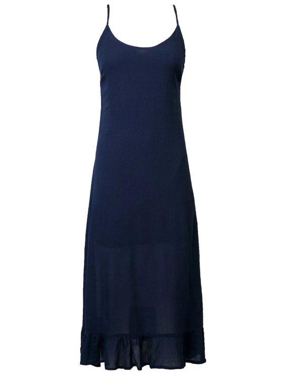 Vestido Fruncido de Tirante Fino con Cordón Combinado - Azul Purpúreo M