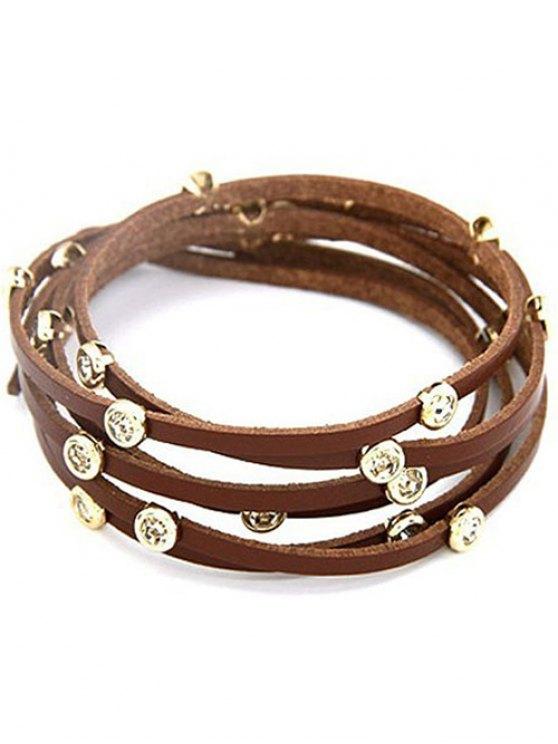 Rhinestone Alloy Faux Leather Strand Bracelet - COFFEE  Mobile