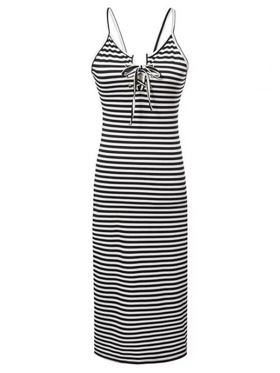 hot Striped Lace-Up Cami Sleeveless Dress - WHITE AND BLACK L