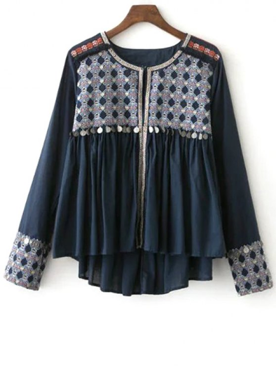 new High-Low Printed Collarless Long Sleeve Blouse - CADETBLUE L