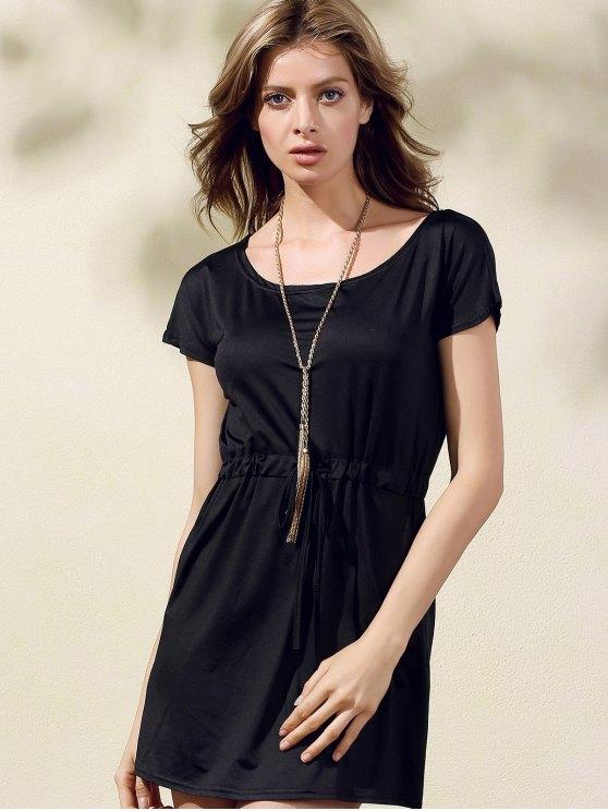 Drawstring Scoop Neck Short Sleeve Dress - BLACK M Mobile