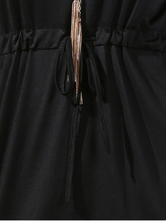 Drawstring Scoop Neck Short Sleeve Dress - BLACK S Mobile