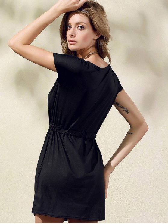 Drawstring Scoop Neck Short Sleeve Dress - BLACK XL Mobile