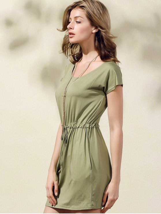 Drawstring Scoop Neck Short Sleeve Dress - GREEN 2XL Mobile