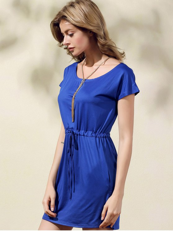 Drawstring Scoop Neck Short Sleeve Dress - BLUE L Mobile
