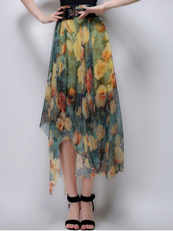 Floral Irregular Hem High Waist Skirt - YELLOW L Mobile