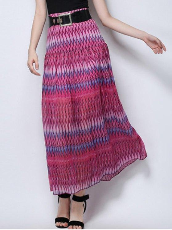 Zig zag PrintHigh falda de cintura - Rosa L
