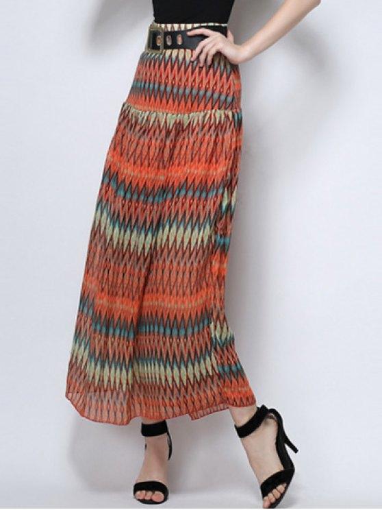 Zig Zag Print High Waist  Skirt - ORANGE L Mobile