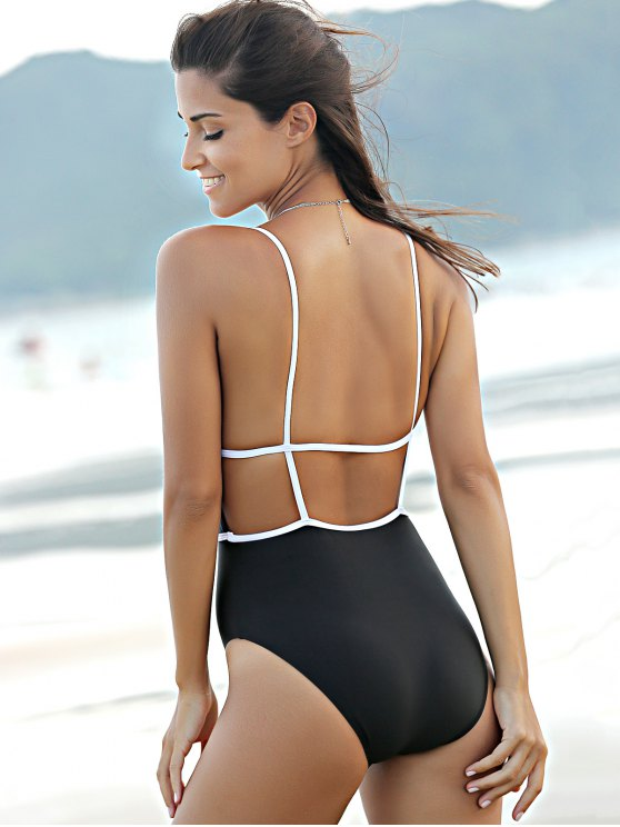 Backless Plunging Neck High Waisted One Piece Swimwear - BLACK M Mobile