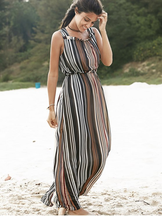 Willow Stripe Square Neck Chiffon Dress - COLORMIX M Mobile