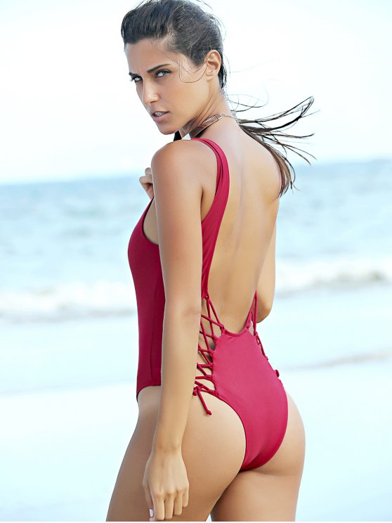 Pure Color Lace Up U Neck One-Piece Swimwear - WINE RED M Mobile