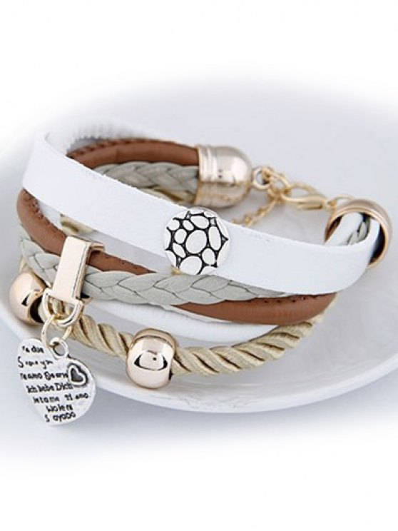 Heart Faux Leather Layered Bracelet - WHITE  Mobile