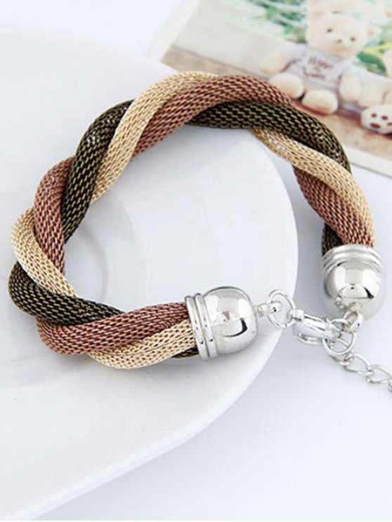 Three Color Match Twining Bracelet - COFFEE  Mobile