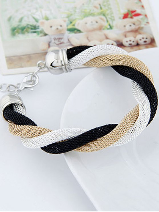 Three Color Match Twining Bracelet - WHITE  Mobile