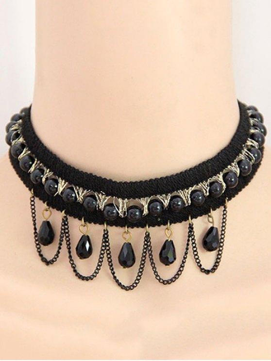 Bead Tassel Retro Choker Necklace - BLACK  Mobile