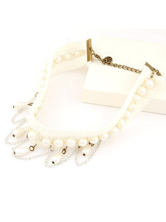 Faux Pearl Tassel Elegant Choker Necklace - WHITE  Mobile