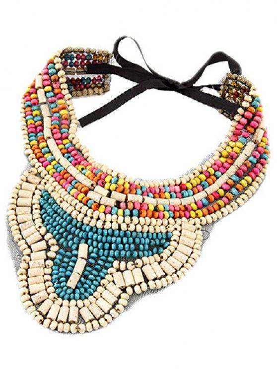 lady Bohemian Ethnic Style Beaded Necklace - LAKE BLUE