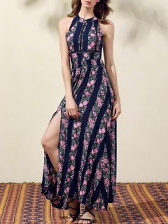 Floral Print High Slit Jewel Neck Sleeveless Dress - Purplish Blue M