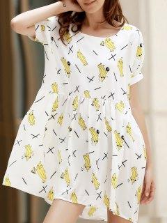 Cartoon Print Round Collar Short Sleeve Dress - White 2xl