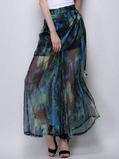 Abstract Print High Waist Wide Leg Pants - Green L