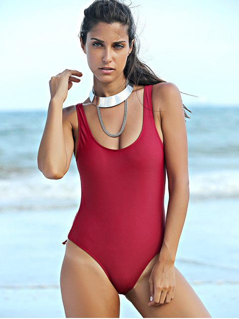outfit Pure Color Lace Up U Neck One-Piece Swimwear - WINE RED M Mobile
