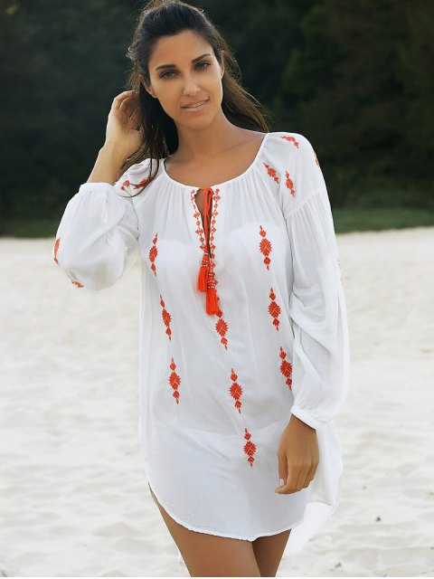 best Embroidered White Irregular Dress - WHITE S Mobile