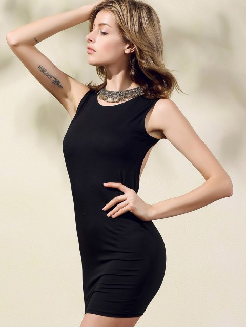 lady Hollow Back Bodycon Party Dress - BLACK S Mobile