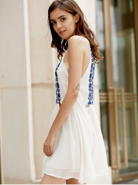 best Spaghetti Strap Vintage Floral White Dress - WHITE M Mobile