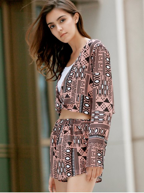 trendy Long Sleeve Front Twist Top + Printed Shorts Twinset - COLORMIX L Mobile